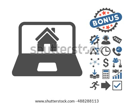 Home on Laptop Screen icon with bonus pictures. Vector illustration style is flat iconic bicolor symbols, cobalt and gray colors, white background.