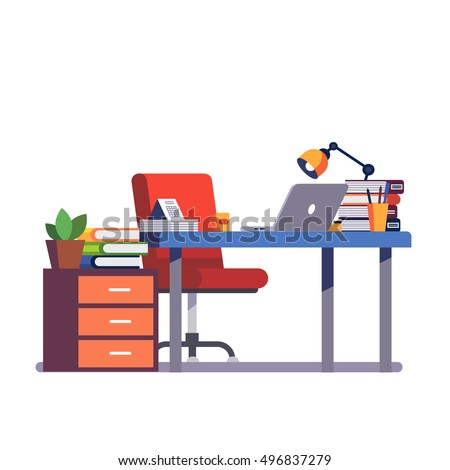 Home or office desk with pedestal drawer, casters chair, laptop computer, some paper files and binders, lamp and pencil cup. Modern colorful flat style vector illustration isolated on white background