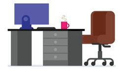 Home or office desk with pedestal drawer, castors chair, computer and coffee cup. Flat style work table vector illustration isolated on white background