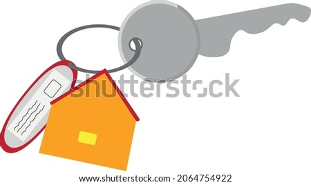 Home or office keys with a house keychain and a badge.
