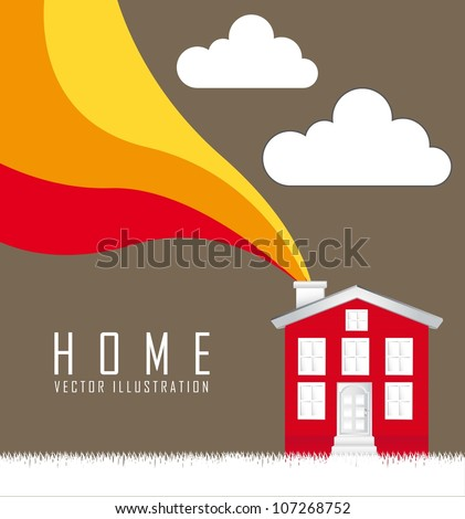 home over grass with wave over brown background. vector