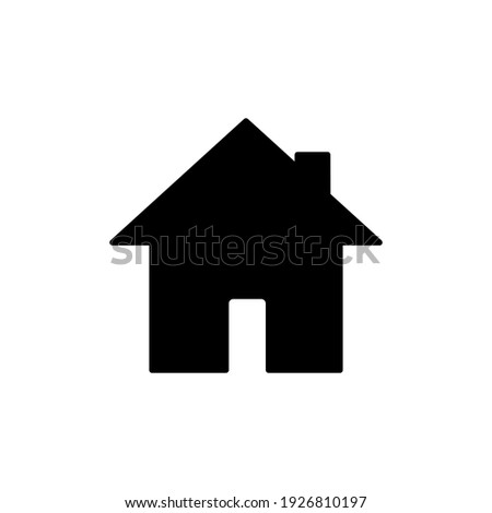 Home page icon. House black pictogram. Building silhouette symbol. Vector isolated on white