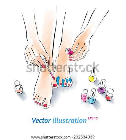 Home pedicure Vector illustration with watercolor texture