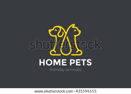 Home pets Logo dog cat design vector template Linear style. Animals Veterinary clinic Logotype concept outline icon.