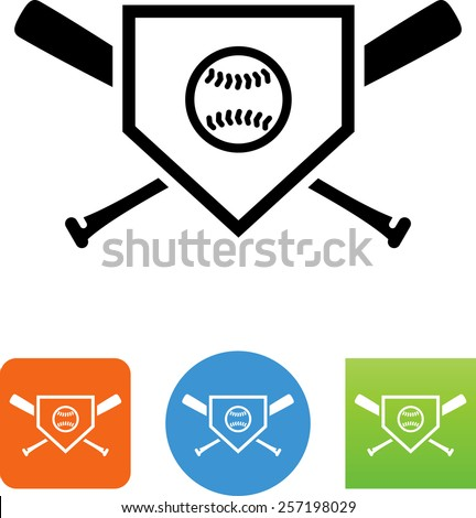 Home plate icon with baseball bats and ball