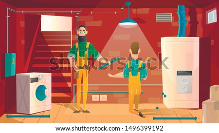 Home Plumbing, Repair or Appliances Installation Service Cartoon Vector Concept. Workers in Uniform Repairing Water Pile Line in House Basement, Installing New Boiler Ow Washing Machine Illustration
