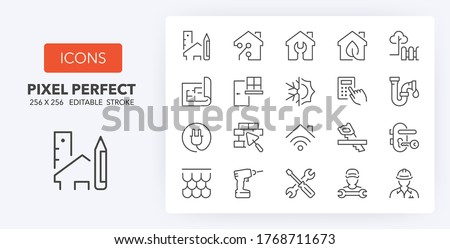 Home renovation, improvement and repair thin line icon set. Outline symbol collection. Editable vector stroke. 256x256 Pixel Perfect scalable to 128px, 64px...