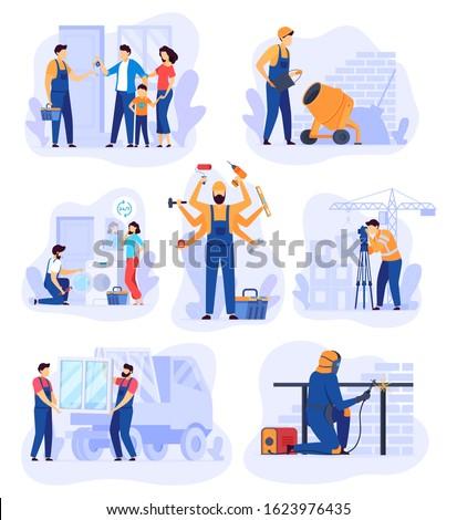 Home renovation work, repair man service vector illustration. Handyman cartoon character, set of building renovation scenes. Professional house repair service, workers in overalls, team of builders.