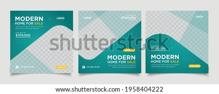Home rent and sale social media advertising posts digital marketing vector sets. Unique geometric modern square template social media layouts poster and promo social media banners design.