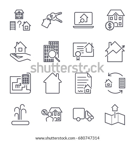 Home/Rent/Mortgage Icons Set. Real estate, building, house, construction, contract icon & sign concept vector set for infographics, website on white background. Icon set with editable stroke