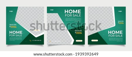 Home rent  sale social media advertising posts digital marketing vector sets. Unique geometric modern square template social media layouts poster  promo social media banners design.