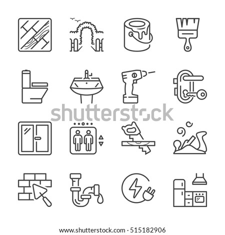 home repair and maintenance thin line icon set, black color, isolated