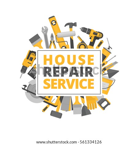 Home repair. Construction tools. Hand tools for home renovation and construction. Flat style, vector illustration.