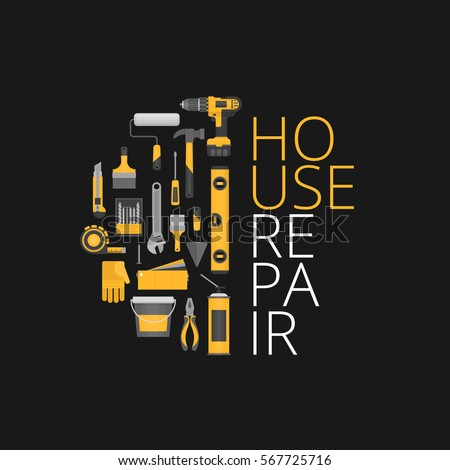 Home repair. Hand tools for home renovation and construction. Flat style, vector illustration.