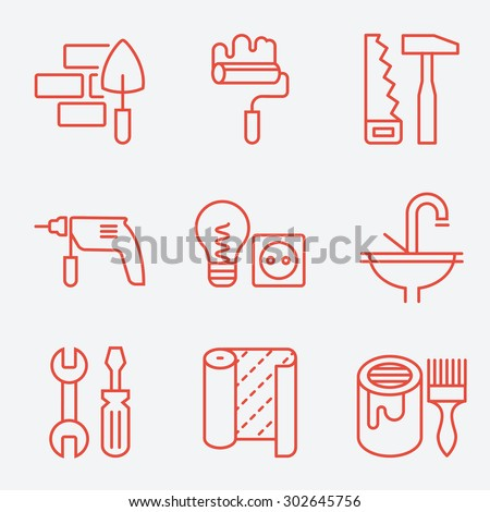 Home repair icons, thin line style, flat design