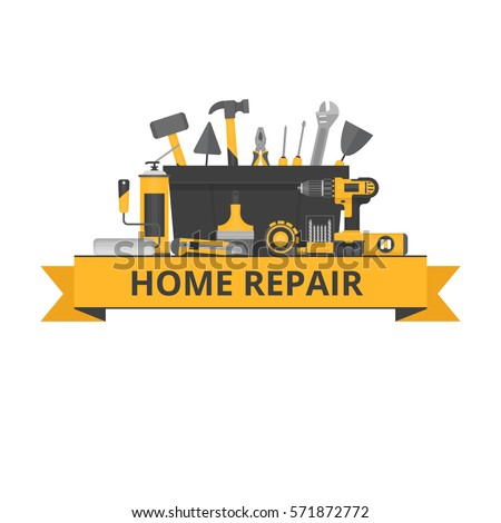 Home repair objects. Construction tools. Hand tools for home renovation and construction. Flat style, vector illustration.