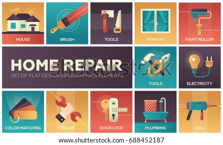 Home repair process and tools - set of modern vector flat design icons with gradient colors. Brush, drill, saw, paint roller, ladder, window, door lock, electricity, plumbing, color matching