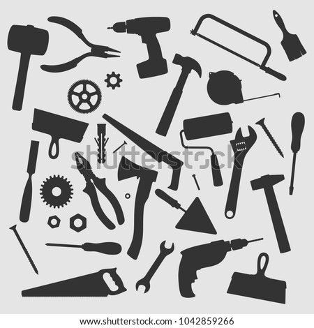 Home Repair Tools Vector Silhouette
