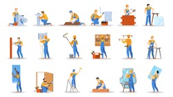 Home repair worker set. Collection of people making house renovation. Man in helmet painting wall, electrician working, guy on the ladder. Isolated vector illustration in cartoon style