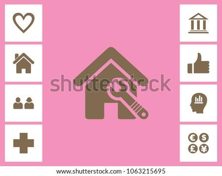 Home Repairing Icon With Bonus Icons. Eps-10.