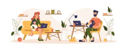 Home routine and work freelance, home office vector flat illustration. Mother and father freelancers working at home office interfering with daily routine life, children nursing and working at laptop