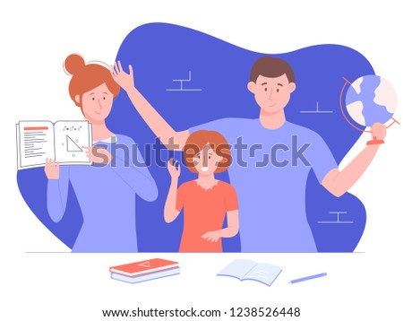 Home schooling. Parents teach daughter math and geography. Mom explains the theorem, dad shows the globe. On the table are books, a notebook and a pen. Vector illustration.