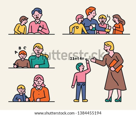 Home schooling with children studying and kind teachers. flat design style minimal vector illustration