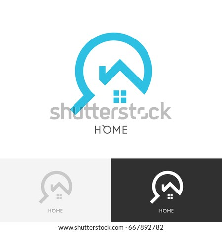Home search logo - house with window and chimney and magnifier symbol. Estate agency, realty and real property vector icon.