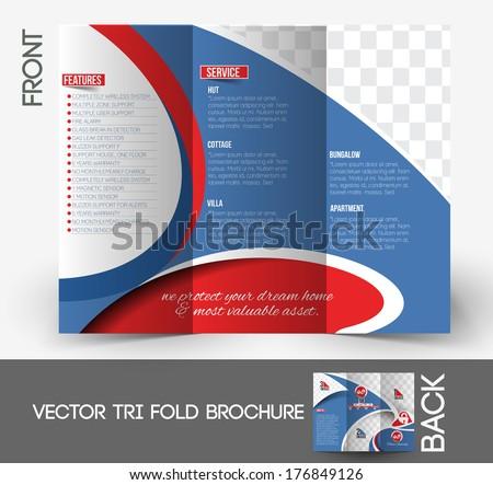Home Security Center Tri Fold Mock Up Front Brochure Design