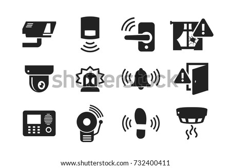 Home Security Sensors and equipment icons set