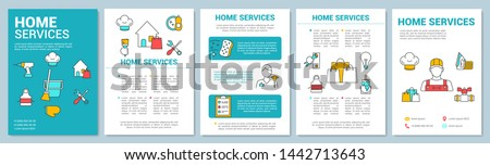 Home services brochure template layout. Handyman. Flyer, booklet, leaflet print design with linear illustrations. Apartment cleanup. Vector page layouts for magazine, annual report, advertising poster