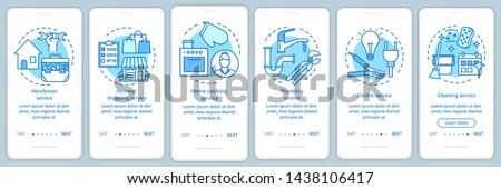Home services onboarding mobile app page screen with linear concepts. Handyman service. Six walkthrough steps graphic instructions. Cleaning service. UX, UI, GUI vector template with illustrations