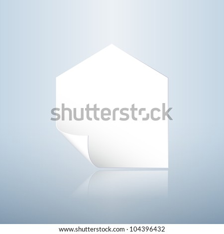 Home shaped paper with curling angle, realty concept illustration