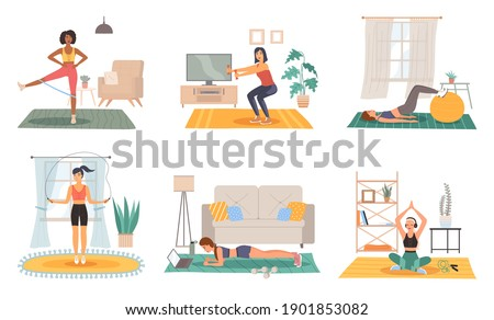 Home sport training. Female fitness activity in room, healthy lifestyle and workout scenes set, girl doing physical exercises yoga and gymnastics in house gym with sports equipment. Vector flat set Сток-фото ©