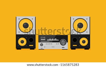 Home stereo flat vector music systems