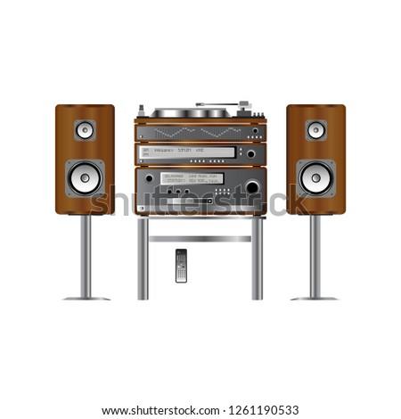 Home stereo Hi-Fi Receiver vintage full system vector illustration