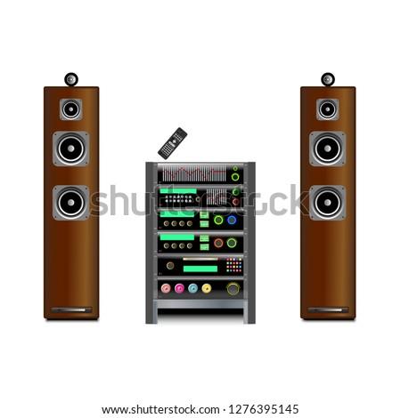 Home stereo Hi-Fi vintage full system vector illustration