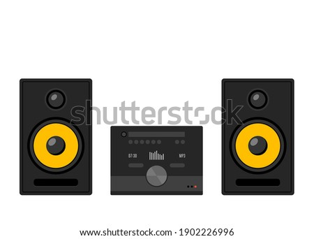 Home stereo theater music cartoon. Music system isolated speaker hifi sound