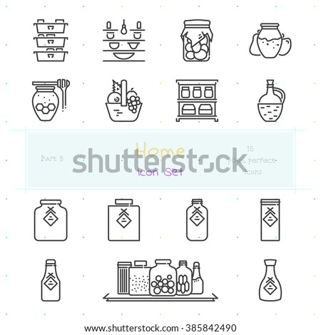 Home stuff outline icon set of 15 thin modern and stylish icons. Part 8 - pantry stuff and furniture. Dark line version. EPS 10. Pixel perfect icons.