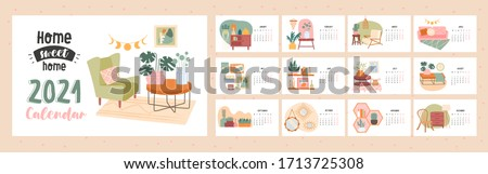 Home Sweet Home 2021 calendar template with cover and twelve months showing assorted interior decor with dates, colored vector illustration
