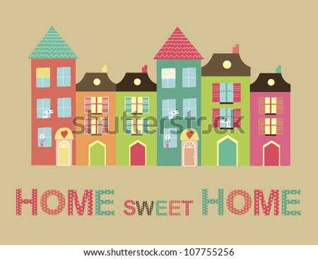 Home Sweet Home Card. Vector Illustration  107755256 : Shutterstock