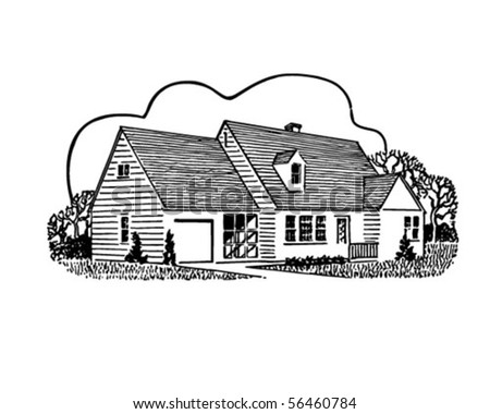 stock vector : Home Sweet Home - Retro Clip Art