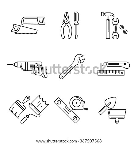 Home tools and hardware set. Thin line art icons. Linear style illustrations isolated on white.