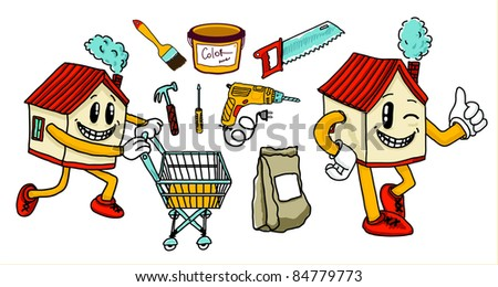 Home, tools, building, - stock vector