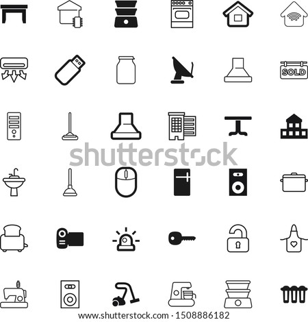 home vector icon set such as: homemade, jar, cell, communication, chimney, scroll, video, vacuum, protection, room, refrigeration, light, row, plunger, wash, caffeine, city, health, construction