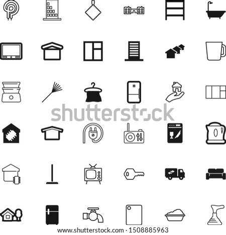 home vector icon set such as: lock, rag, table, storage, pump, bean, transparent, hands, eps10, caffeine, kettle, education, cuisine, isometric, seat, decorative, beverage, chop, ice, soap, heat