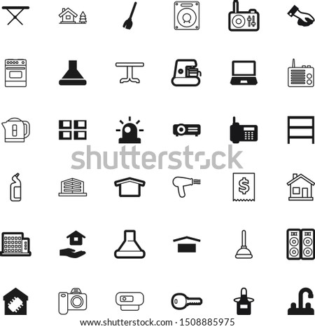 home vector icon set such as: stamp, round, cinema, hotel, picture, urgency, outline, board, device, caffeine, door, machine, brush, notebook, safety, heat, sell, label, town, wash, beverage, curve