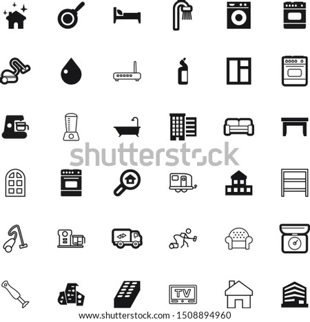 home vector icon set such as: table, dial, villa, figure, dry, clear, circle, shirt, clothing, caffeine, television, government, gateway, long, trailers, cleanser, camper, buy, recreation, worker