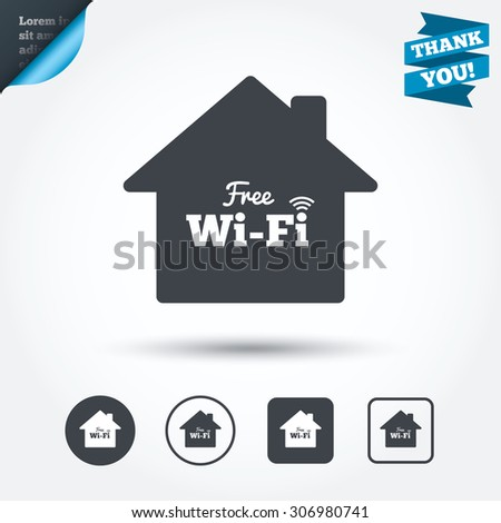 Home Wifi Sign. Wifi Symbol. Wireless Network Icon. Wifi Zone. Circle And Part 73