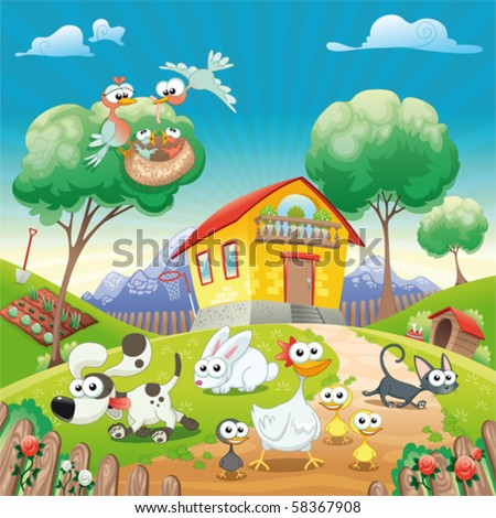 Home with Animals. Funny cartoon and vector illustration. Isolated objects.